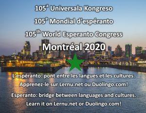 105ème Congrès mondial d'espéranto, été 2020, à Montréal, Canada